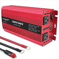 Yinleader - Inversor de corriente (1500 W, 3000 W, pico) CC 12 V/24 V a 110 V CA de doble CA y puertos USB duales de 3,1…