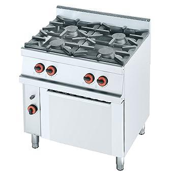 Macfrin S4SH Cocina a Gas de 4 Fuegos y Horno Con Gratinador