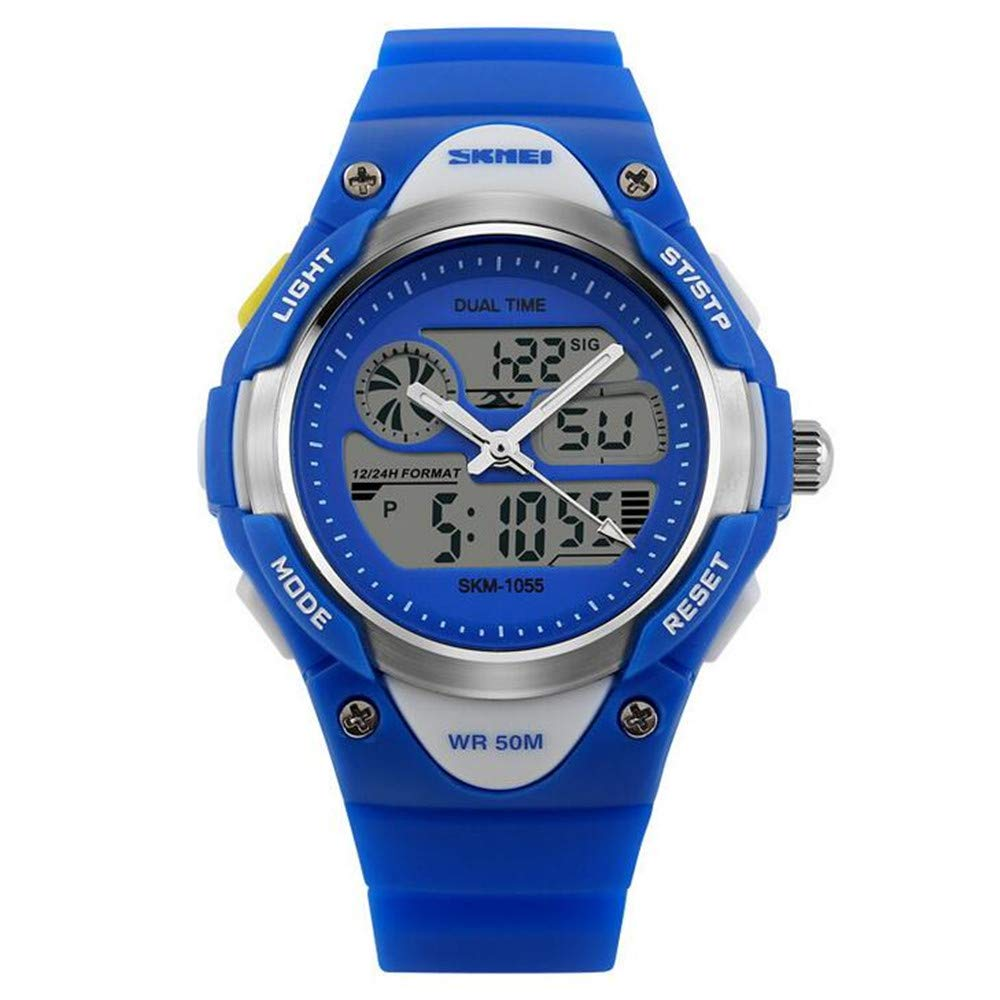 Blue Trend Fashion Watch/Outdoor Sports Double Display Watch/Personality Creative Candy Children Student Watch
