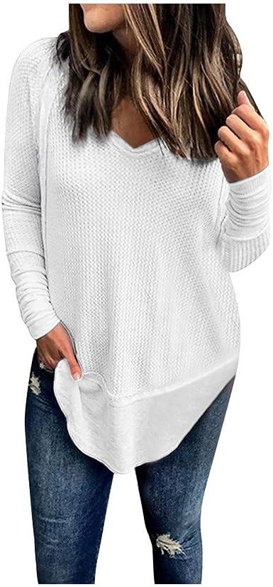 Luckycat Camisetas Mujer Manga Larga Cuello V Casual Tops Color Sólido Camisas Mujer Primavera Otoño Blusa de Las Mujeres Básica Camiseta de Manga Larga Elegantes Blusa Oficina de Tops: Amazon.es: Ropa y