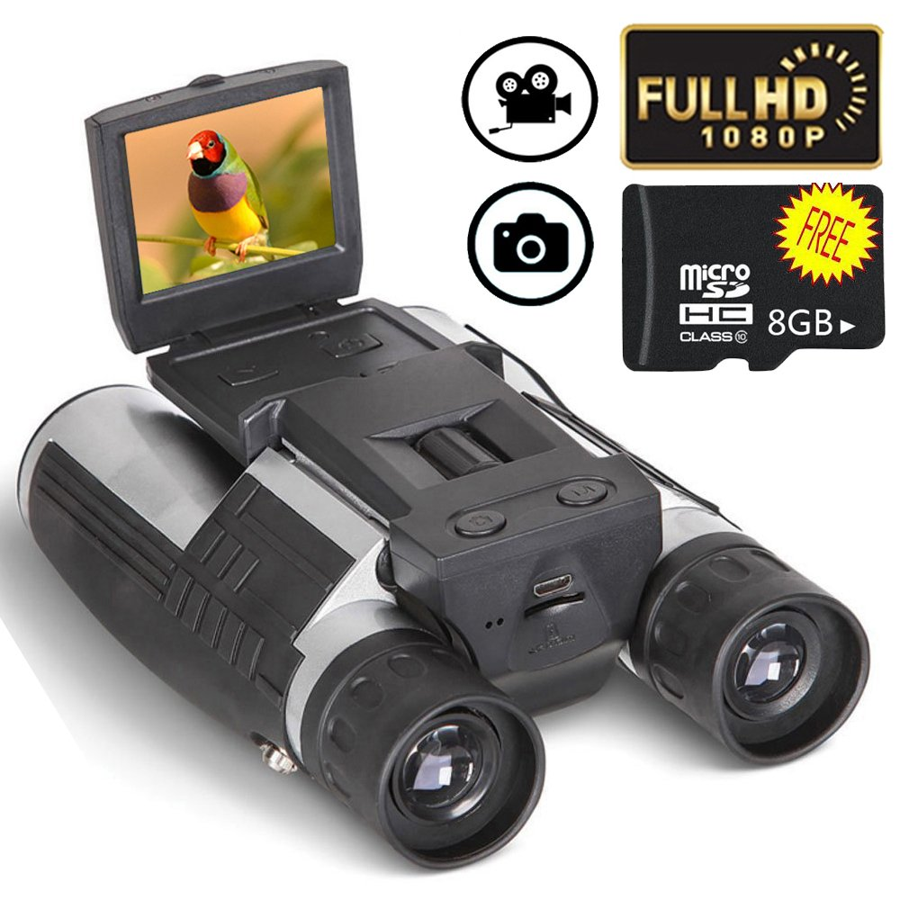 Ansee Digital Binoculars Camera Telescope Camera 2'' LCD Display 12x32 5MP Video Photo Recorder with Free 8GB Micro SD Card for Watching Bird Football Game Concert by Ansee (Image #1)