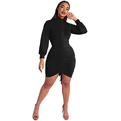 9221467d49 Rebdolls Women s Cocktail Ruched Puff Sleeve High Neck Mini Dress - Plus  Sizes