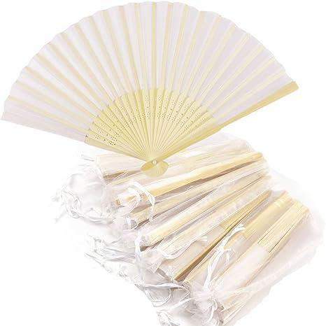 Handfächer Fächer , Bambus Fan ,Seide Fan mit Organzabeutel für kann DIY malen, Empfang Hochzeit Brautpaar Wedding Hochzeit P