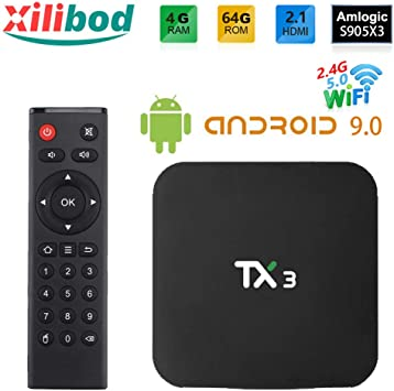 Xilibod Android 9.0 TV Box 4GB RAM/64GB ROM, S905X3 64-bit Quad Core Arm, G31™ MP2 GPU Processor,H.265 Decoding 2.4G/5G Dual-Band WiFi Smart TV Box: Amazon.es: Electrónica