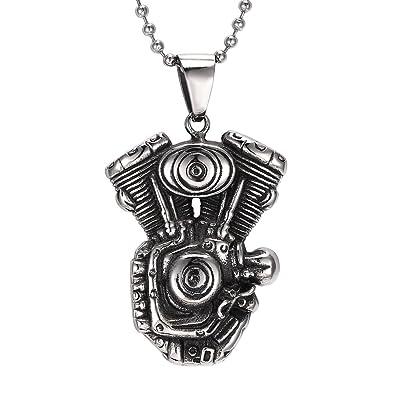 d2135011fe8d7 MOWEN Mens Motorcycle Engine Tribal Biker Necklace Stainless Steel ...