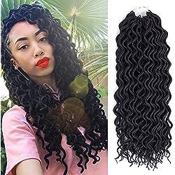 (6Packs) 12inch Curly Faux Locs Soft Hair Twist Braids Crochet Braiding Hair Braids Mambo Hair Extension 24Roots/Pack (12inch, 1B)