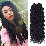 (6Packs) 22inch Curly Faux Locs Soft Hair Twist Braids Crochet Braiding Hair Braids Mambo Hair Extension 24Roots/Pack (22inch, 1B#)