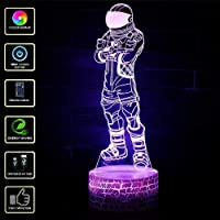 NetEraEU Fortnite 3D Illusion Night Light LED with Remote Control, 7 Colors Touch Table Desk Light, Home Bedroom Office Decor, Best Gift for Kids Birthday Christmas Halloween (E)