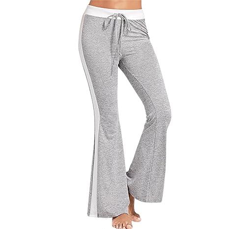 80b68f6314038f Gyratedream Pantaloni Donna Casual Coulisse Vita Lato a Righe Palazzo Pants  Yoga Corsa Fitness Joggings Ladies