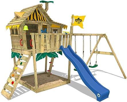 WICKEY Parque infantil de madera Smart Monkey con columpio y tobogán azul, Casa de juegos de jardín con arenero y escalera para niños: Amazon.es: Bricolaje y herramientas
