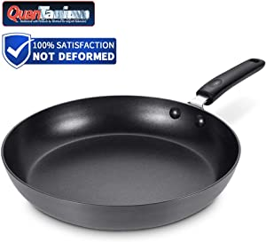Frying Pan Nonstick, Hard Anodized Aluminum 9.5 Inch Skillet with Heat Resistant Handle, 3mm Thickness Omelette Pan No-warp, Dishwasher Safe, Black