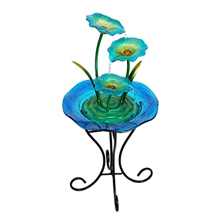 Wonderland 3 Blue Flower Glass & Metal Fountain With Stand & Motor (Home Decor, Fountain, Gifting)