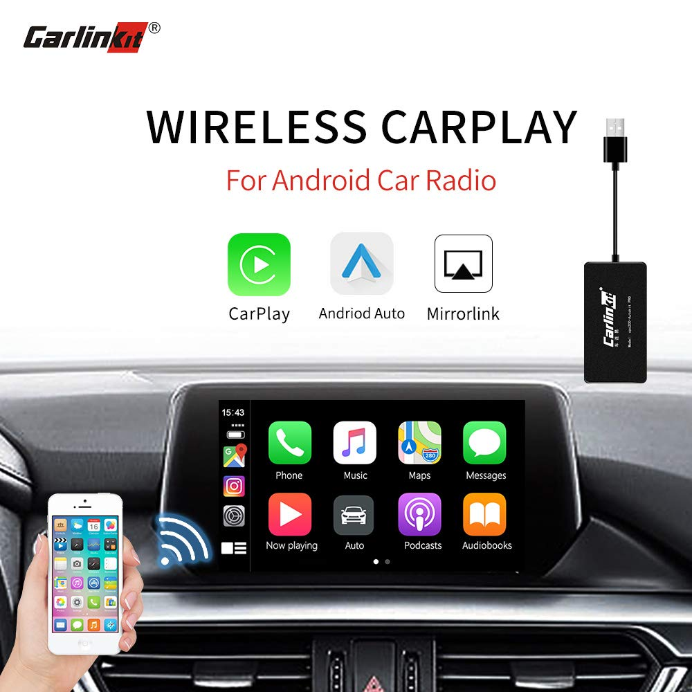 Carlinkit Wireless Carplay Dongle Adapter Only for Car with Android Head Unit Navigation Player, add Function Carplay/Android Auto/Mirror Screen/Support iOS13,USB Carplay Smart Link Bluetooth Black by Carlinkit