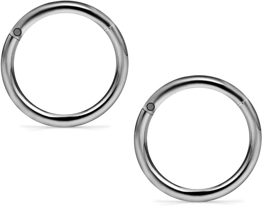 Titanium Hinged Segment Clicker Ring Hoop Ear Lip Nose Body Ring Septum Piercing