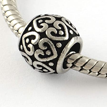 10 x Big Hole Love Heart Spacer Beads Charm European bracelet Bead 9mm Hole 5mm