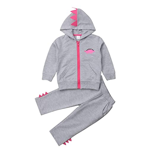 6bc34d5cb Image Unavailable. Image not available for. Color: Toddler Kids Baby Girls  Cute Dinosaur Long Sleeve Hooded Sweatshirt ...