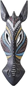Otartu 5 by 14 inch African Animal Zebra Mask Wall Decor Sculpture Hand Carved Geometric on Surface,Africa Tribe Style (Zebra)