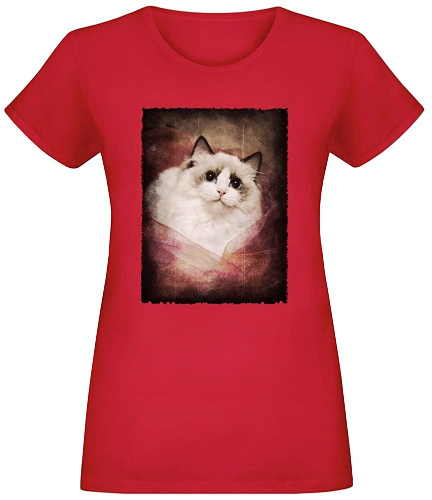 Ragdoll in Cloth T-Shirt Top Short Sleeve Jersey for Women 100% Soft Cotton Custom Printed Womens Clothing
