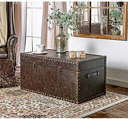 Furniture of America Lange Faux Leather Trunk Accent Table in Antique Brown