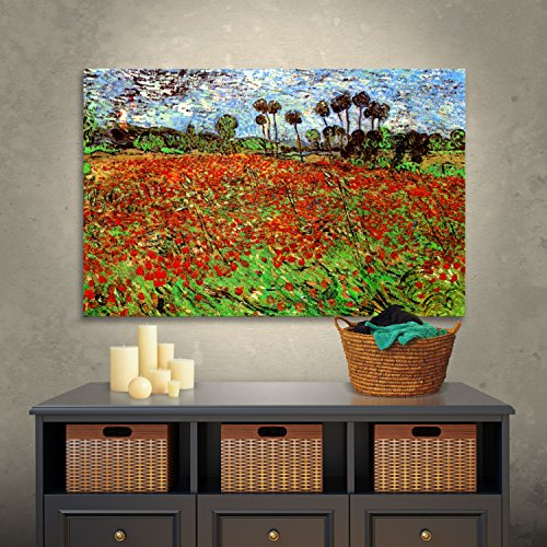 Van Gogh Poppies - ArtWall Vincent Vangogh's Poppy Field, Gallery Wrapped Canvas, 36 by 48-Inch