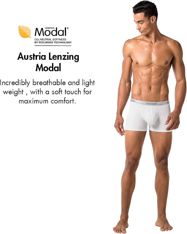 Tessuto Estremamente SOFFICE Underwear Nero Grigio Blu M02 LAPASA Boxer Uomo Pacco da 4 Slip Mutande Intimo in Micromodal