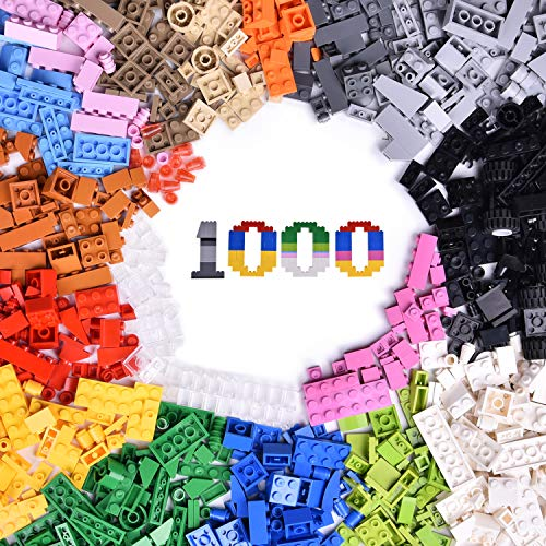 1000 Pcs Building Bricks in 17 Popular Colors & 147 Mixed Shapes, Classic Creative Building Blocks Compatible with All Major Brands, Bulk Basic Bricks Toys, Birthday Gift for Kids, Boys