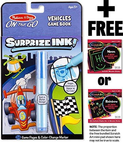 SurprizeInk! Vehicles Game Book: On-the-Go Series + FREE Melissa & Doug Scratch Art Mini-Pad Bundle [52863] by Melissa & Doug (Image #1)