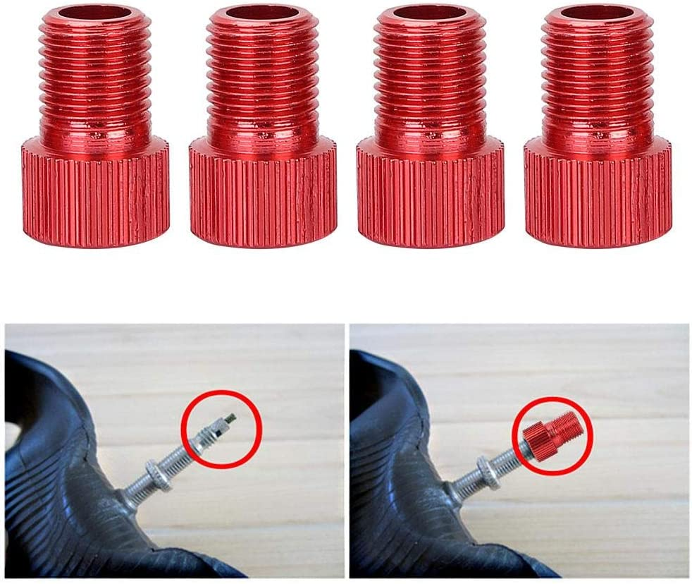 4 Pcs Air Pump Adapter Presta to Schrader Converter for Bikeb Motorcycle Dilwe Bicycle Nozzle Adapter