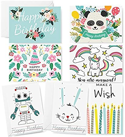 42 Pack Kids Birthday Cards Cute Unicorn Panda Robot Happy Greeting Card Variety Assortment For Children