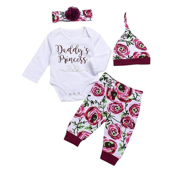ed8e720544a Vipeco Fashion 4pcs Set Newborn Baby Jumpsuit Letters Print Infants Cotton  Soft Clothes Set Floral