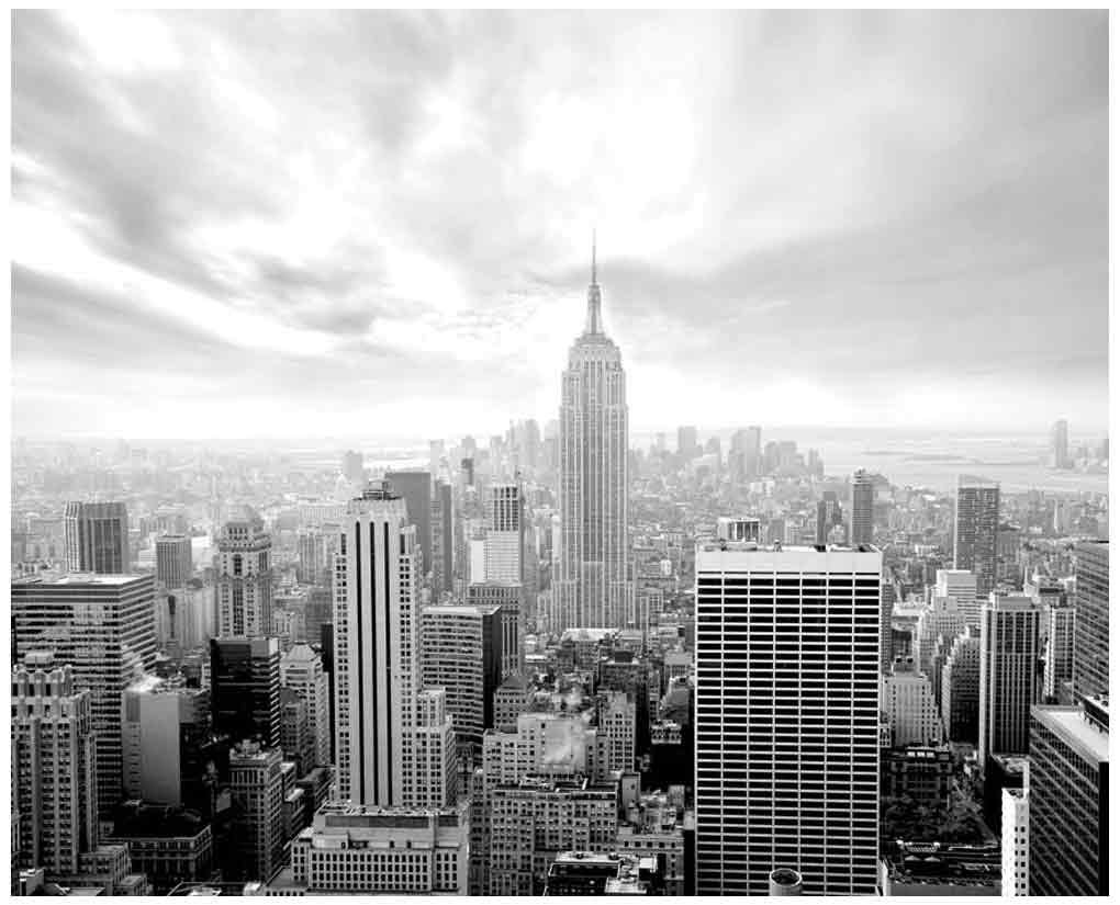 JP London MD5A002 10.5-Feet Wide by 8.5-Feet High New York City Skyline Empire Black and White Removable Full Wall Mural