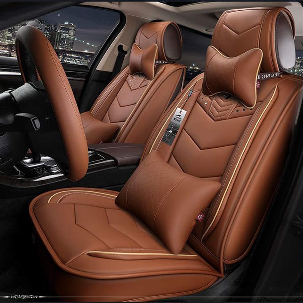ユニバーサルチャイルドシートカバーセット、高級レザーチャイルドシートは、前面の保護を保護します5席、9個入り(カラー:ブラウン)   B07T3JLQ11