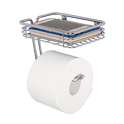 mdegign dispensador de papel higiénico – portarrollos papel WC con soporte para déposer Smartphone, toallitas