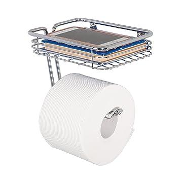 mdegign dispensador de papel higiénico - portarrollos papel WC con soporte para déposer Smartphone, toallitas, etc. - instalación pared - cromo: Amazon.es: ...