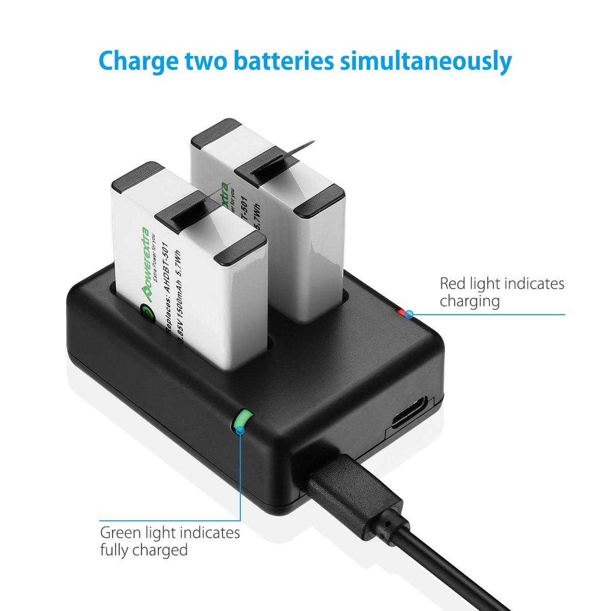 Powerextra Actualizó Batería para GoPro HERO 5 Negro HERO6 Negro y Cargador Doble (Compatible con el Firmware v02.00, v01.57, v01.55 y Futuras Actualizaciones)