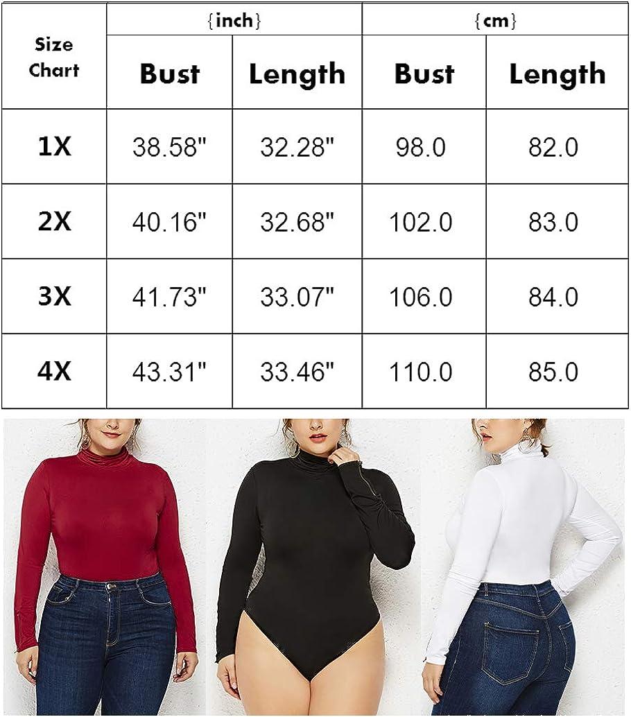Womens Plus Size Bodysuit Tops Long Sleeve Turtleneck Stretchy Leotard Bodycon Jumpsuits Black