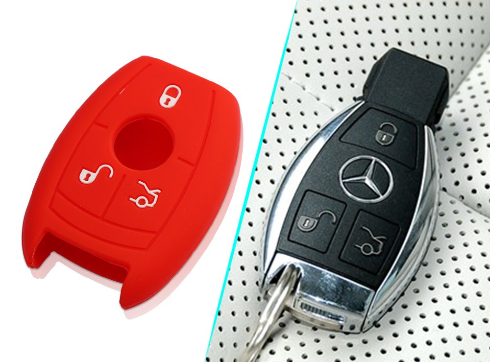 VCiiC Silicone Smart Key FOB Cover for Mercedes Benz W203 W210 W211 AMG W204 C E S CLS CLK CLA SLK Classe Fits Many Models Black