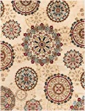 """Rosy Suzani Ivory Multi Red Green Oriental Floral Geometric Modern Casual Area Rug 3×5 4×6 ( 3'11"""" x 5'3″ ) Easy Clean Stain Fade Resistant Shed Free Contemporary Formal Persian Living Dining Room Rug Review"""