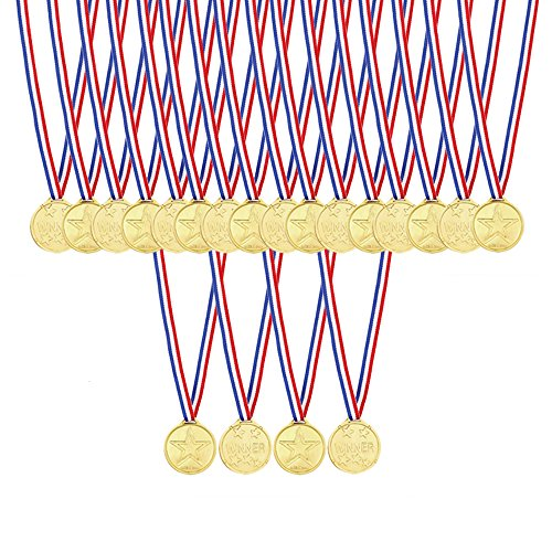 Caydo 48 Pcs Kids Children's Gold Plastic Winner Award Medals -