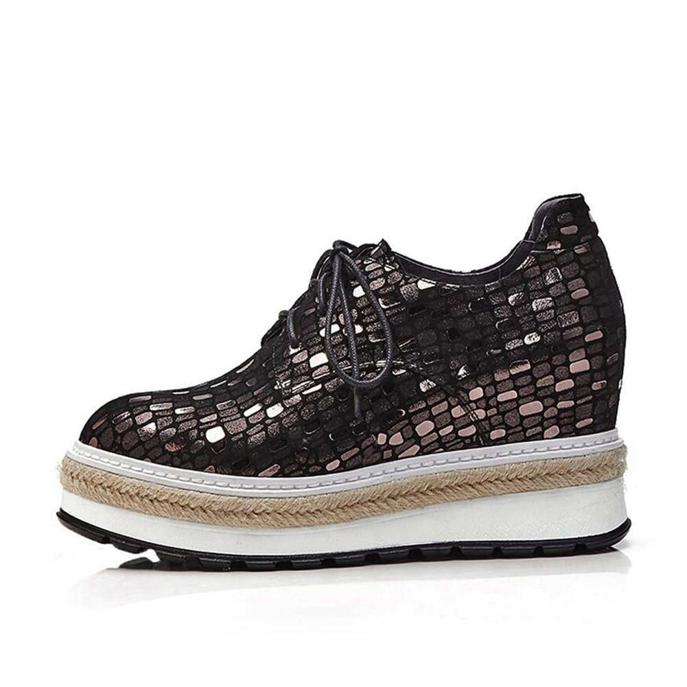 CJC Schuhe Schaffell Damenschuhe Rundkopf Flache Schuhe mit Flachem Saum Dicker Sohlen Schnürschuhe (Farbe   1, Größe   EU36 UK3.5)