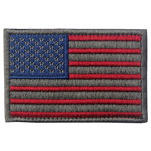 EmbTao Tactical Embroidered USA Flag Fastener Hook&Loop Patch - Subdued Silver