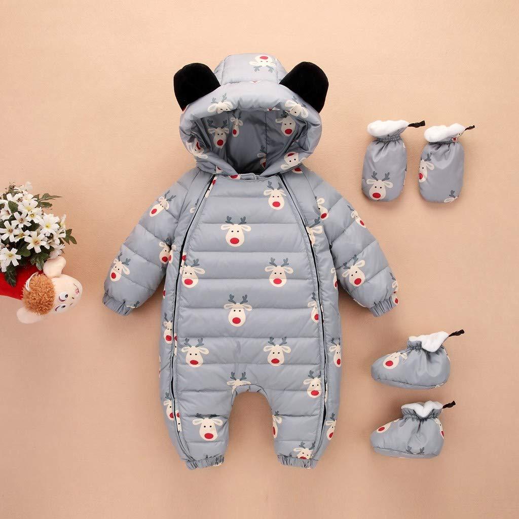 Amazon.com: Sunhusing Baby Long-Sleeve Hooded Cartoon Deer Print Bear Ears Hooded Hooded Jumpsuit+Gloves+Socks Three-Piece Suit: Clothing