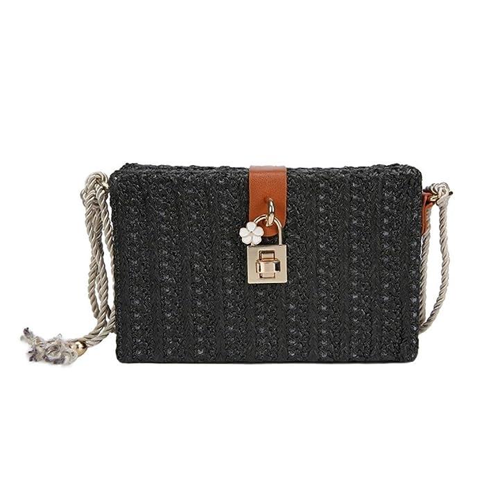 a7354358b5ba Nodykka Clutch Purses For Women Shoulder Rattan Straw Bag Retro Box  Rectangular Wicker Summer Beach Straw Satchel