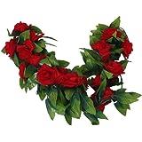 2x Rosa Artificiale Ghirlanda Di Seta Fiore Matrimonio Giardino Di Casa Decorazione - Rosso