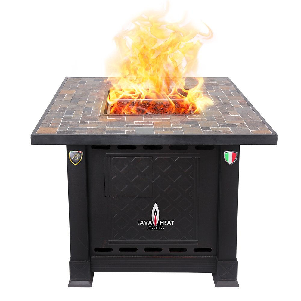 Charming Amazon.com: Lava Heat Italia LHI VOLTERRA 30BTU ANTBR LP Patio Heater  Volterra Fire Pit Table Propane, 30000 BTU, Antique Bronze With Stone:  Garden U0026 ...