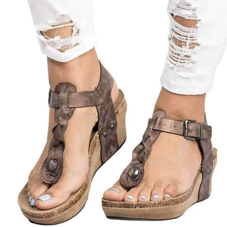 Brown HuangKang 2019 Summer Women's Sandals Women's Wedges Platform shoes Summer Ladies shoes