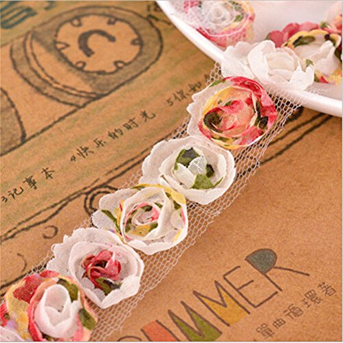 3 Meters Chiffon Organza Colourful Rose Flower Lace Edge Trim Ribbon 2 cm Width Vintage Edging Trimmings Fabric Embroidered Applique Sewing Craft Wedding Dress Embellishment Clothes Decor Embroidery