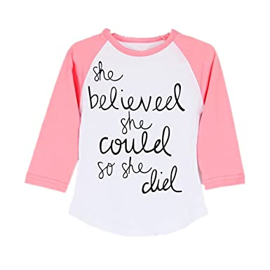 97c74efa13 puseky Funny Toddler Baby Kids Girl Long Sleeve Letter Print T-Shirt Casual  Tops (