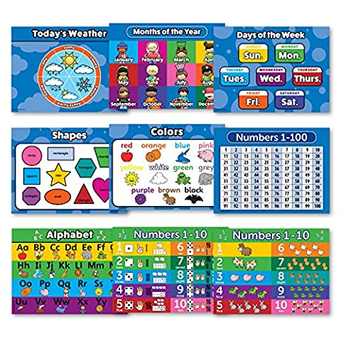 Toddler Learning LAMINATED Poster Kit - 9 Educational Wall Posters for Preschool Kids - ABC - Alphabet, Numbers 1-10, Shapes, Colors, Numbers 1-100, Days of the Week, Months of the Year, Weather (Educational Kits)
