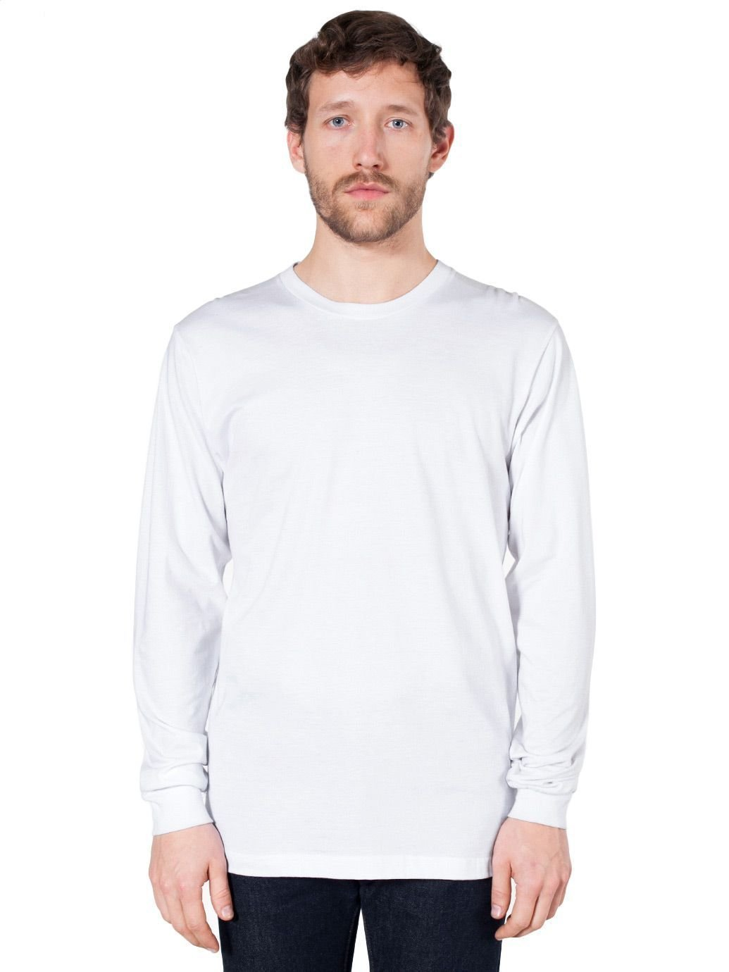 American Apparel Fine Jersey Long Sleeve T-Shirt - White - Large